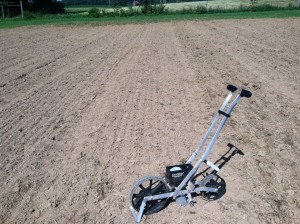 An Earthway seeder can be a mini drill. You can gang up several for efficiency.