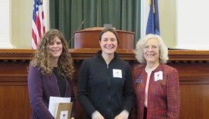 Amy Jones of the Maine Association of Professional Soil Scientists, me, and Joan Welsh, the sponsor of this resolution with our I heart soil stickers at the State House!